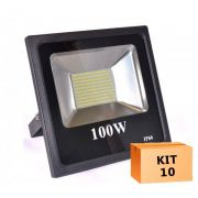 Kit 10 Refletor Led Slim SMD 100W Branco Frio Uso Externo
