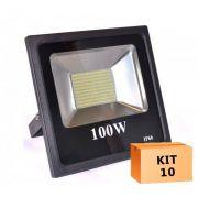 Kit 10 Refletor Led Slim SMD 100W Branco Frio Uso Externo