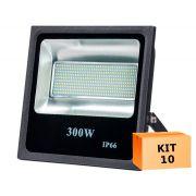 Kit 10 Refletor Led SMD 300W Branco Frio Uso Externo