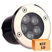 Kit 10 Spot Led Balizador 5w Branco Quente Blindado Embutido para Piso
