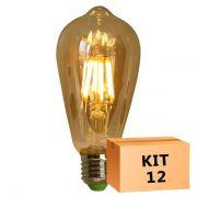Kit 12 Lâmpada de Filamento de LED ST64 Squirrel Cage Cage 4W 110V Dimerizável