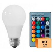 Kit 12 Lâmpada LED Bulbo 05W RGB