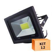 Kit 12 Refletor Led Cob 50W Branco Frio Uso Externo