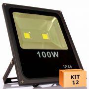 Kit 12 Refletor Led Slim 100W Branco Quente (Amarelo) Uso Externo