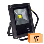 Kit 12 Refletor Led Slim 10W Branco Frio Uso Externo