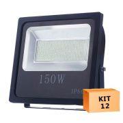Kit 12 Refletor Led Slim SMD 150W Branco Frio Uso Externo