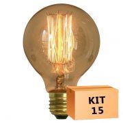 Kit 15 Lâmpada de Filamento de Carbono G125 Squirrel Cage 40W 220V