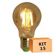 Kit 15 Lâmpada de Filamento de LED A19 Squirrel Cage Cage 4W 110V Dimerizável