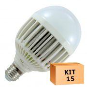 Kit 15 Lâmpada Led Bulbo 15W Branco Quente