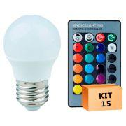Kit 15 Lâmpada LED Bulbo Bolinha 03W RGB