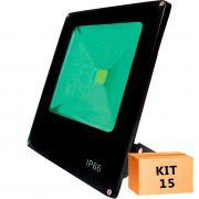 Kit 15 Refletor Led 20W Verde Uso Externo