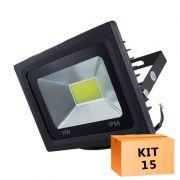 Kit 15 Refletor Led Cob 50W Branco Frio Uso Externo