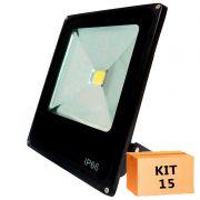 Kit 15 Refletor Led Slim 20W Branco Frio Uso Externo