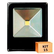 Kit 15 Refletor Led Slim 30W Branco Frio Uso Externo