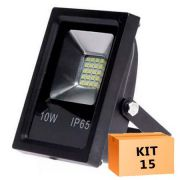 Kit 15 Refletor Led Slim SMD 10W Branco Frio Uso Externo