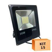 Kit 15 Refletor Led Slim SMD 30W Branco Frio Uso Externo