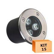 Kit 15 Spot Led Balizador 3w Branco Quente Blindado Embutido para Piso