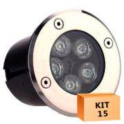 Kit 15 Spot Led Balizador 5w Branco Frio Blindado Embutido para Piso