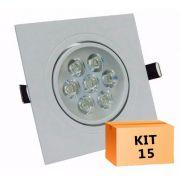 Kit 15 Spot Led direcionável Quadrado 7W Branco Frio 6000K