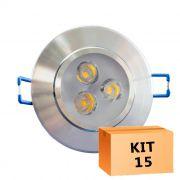 Kit 15 Spot Led Prata Direcionável Redondo 3W Quente 3000K