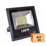 Kit 20 Refletor Led Slim SMD 100W Branco Frio Uso Externo