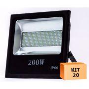 Kit 20 Refletor Led SMD 200W Branco Frio Uso Externo