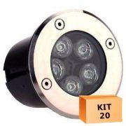 Kit 20 Spot Led Balizador 5w Branco Frio Blindado Embutido para Piso