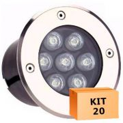Kit 20 Spot Led Balizador 7w Branco Frio Blindado Embutido para Piso