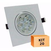 Kit 20 Spot Led direcionável Quadrado 7W Quente 3000K