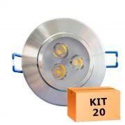 Kit 20 Spot Led Prata Direcionável Redondo 3W Quente 3000K