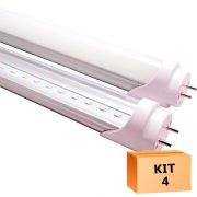 Kit 4 Lâmpada Led Tubular T8 18W 120 cm bivolt Branco Frio Transparente