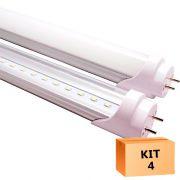 Kit 4 Lâmpada Led Tubular T8 18W 120 cm bivolt Branco Quente Transparente
