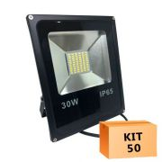 Kit 50 Refletor Led Slim SMD 30W Branco Frio Uso Externo