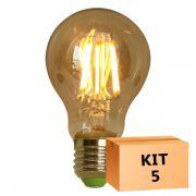Kit 5 Lâmpada de Filamento de LED A19 Squirrel Cage Cage 4W Bivolt