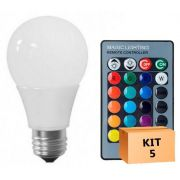 Kit 5 Lâmpada LED Bulbo 05W RGB