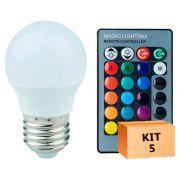 Kit 5 Lâmpada LED Bulbo Bolinha 03W RGB