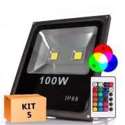 Kit 5 Refletor Led 100W RGB Uso Externo