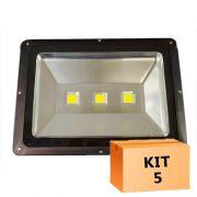 Kit 5 Refletor Led 150W Branco Frio Uso Externo