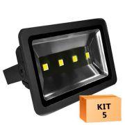 Kit 5 Refletor Led 200W Branco Frio Uso Externo