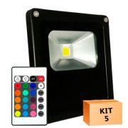 Kit 5 Refletor Led 50W RGB Uso Externo