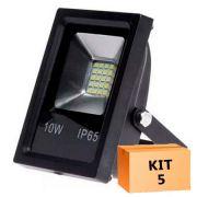 Kit 5 Refletor Led Slim SMD 10W Branco Frio Uso Externo