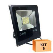 Kit 5 Refletor Led Slim SMD 30W Branco Frio Uso Externo