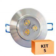 Kit 5 Spot Led Prata Direcionável Redondo 3W Quente 3000K