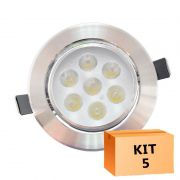 Kit 5 Spot Led Prata Direcionável Redondo 7W Branco Frio 6000K