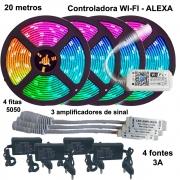 Kit Fita de LED RGB 5050 20 metros (4 rolos de 5m) Wi-fi com amplificador