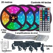 Kit Fita LED RGB 5050 20 metros (4 rolos de 5m) com amplificador e controle