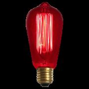 Lâmpada de Filamento de Carbono ST64 Squirrel Cage 40W 110V Vermelha