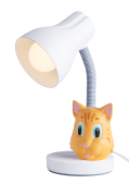 Luminária De Mesa Spiralle Branca Com Pendeco Gato Laranja Startec