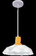 Lustre Pendente Sides M3 E7 Branco Com Copo Amarelo   Startec