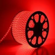 Mangueira Fita 220V LED Vermelho Rolo 100m com 4 tomadas